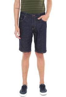 Bermuda Jeans Lacoste Reta Lisa Azul-Marinho