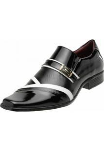 Sapato Social Gofer Verniz Preto Branco