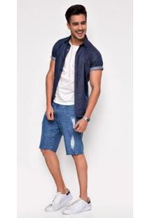 Bermuda Jeans Zait Django Masculina - Masculino-Azul