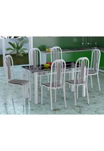 Conjunto De Mesa Com 6 Cadeiras Granada Branco E Preto Listrado