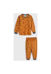Pijama Kamylus Longo Infantil Ursinho Bege/Cinza