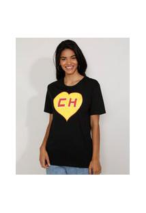 Camiseta Feminina Manga Curta Chapolin Ampla Decote Redondo Preta