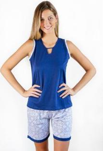 Pijama Regata Gislal Verão Shorts Feminino - Feminino-Azul+Branco