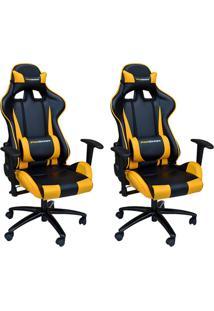 Kit 02 Cadeiras Gamer Giratória Reclinável Com Regulagem De Altura Ergonômica Pro-V Sport Pu Preto/Amarelo - Gran Belo