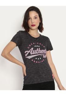 """Camiseta """"Coca-Cola Authentic®""""- Cinza Escuro & Rosacoca-Cola"""
