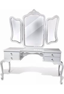 Penteadeira Luis Xv Em Madeira Com Pintura Em Laca Branca E Espelho Bisote