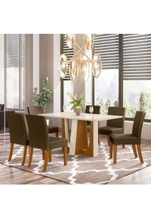 Conjunto De Mesa Com 6 Cadeiras Mirage-Henn - Nature / Off White / Bege