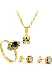 5517b8b82 Kit Horus Import Gargantilha Pingente Cristal Quadrado - Brincos - Anel -  Banhado Em Ouro 18K
