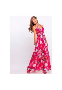 Vestido Elora Alça Floral Feminino Rosa