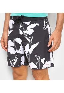 Bermuda Osklen Surf Oriens Flowers Full Masculina - Masculino-Preto+Areia