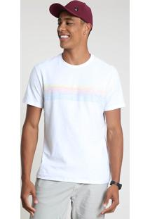 Camiseta Masculina Com Listras Manga Curta Gola Careca Branca