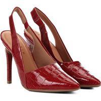 8820d92248 Scarpin Ramarim Salto Alto Croco Bico Fino Chanel Verniz - Feminino-Vermelho