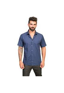 Camisa Manga Curta Sr. Tony Menswear Listrada Com Bolso Azul Escuro