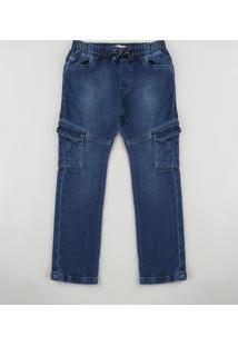 Calça Jeans Infantil Jogger Cargo Em Moletom Azul Escuro