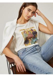 Amaro Feminino T-Shirt Malha Manga Curta Estampa Mulheres, Off-White