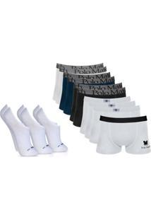 feccd3fdad Kit Com 10 Cuecas Boxer De Cotton Polo Match E 3 Pares De Meias G Lupo