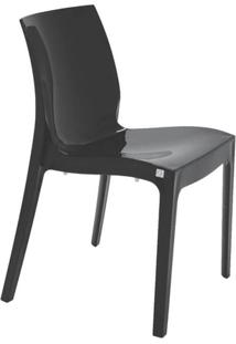 Cadeira Com Encosto Fechado Brilhosa Alice Summa Preta