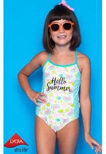 """Maiã´ """"Hello Summer"""" Lycraâ®Xtra Life- Azul Claro & Brancopuket"""