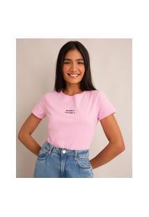 """Camiseta De Algodão """"Bonita E Surtada"""" Manga Curta Decote Redondo Rosa"""