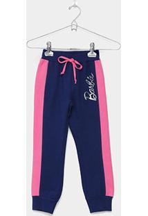 Calça Moletom Fakini Barbie Infantil - Feminino-Marinho