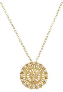 Colar Piuka Medalha Espírito Santo Folheado Ouro Feminino - Feminino-Dourado