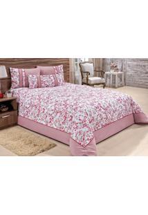 Cobre Leito Fontanille Queen Floral Pink Menina Com 5 Peças - Enxovais Ibitinga