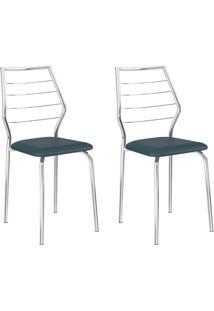 Conjunto 2 Cadeiras 1716 Casual Napa Azul Noturno Cromado