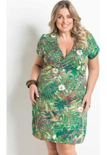 Vestido Transpassado Folhagem Plus Size