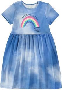 Vestido Tie Dye Viroblock® Menina Malwee Kids Azul Escuro - 12