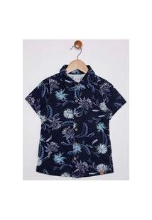 Camisa Manga Curta Floral Infantil Para Menino - Azul Marinho