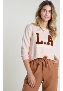 """Blusão Feminino Cropped """"L.A. California"""" Em Moletom Decote Redondo Rosê"""