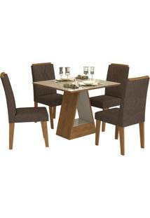 Sala De Jantar Alana 95 Cm Com 4 Cadeiras Savana/Off White Cacau