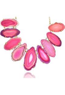 Colar Le Diamond Chapas De Ágata Pink