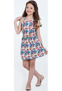 Vestido Infantil Estampa Minnie Cinto Disney