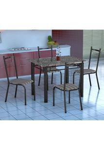 Conjunto De Mesa Gênova Com 4 Cadeiras Lisboa Preto Prata E Preto Listrado