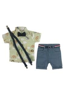 Camisa Safari + Bermuda Sarja + Suspensorio/Gravata Mabu Denim