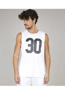 "Regata Masculina Esportiva Ace ""30"" Gola Careca Branca"