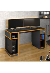Mesa Gamer Idl Xp 1000 Pro 1 Gaveta Black/Laranja - Móveis Germai