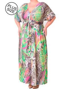 Vestido Longo Plus Size - Confidencial Extra Estampado Verde