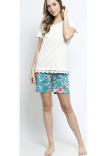 136e5cfe9e Short Doll Floral- Off White   Verde Águadaniela Tombini