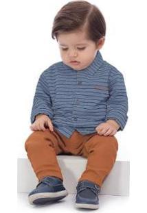 Camisa Manga Longa Tecido Infantil Up Baby Masculina - Masculino-Azul