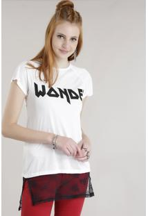 "Blusa Longa ""Wonder"" Com Renda Off White"
