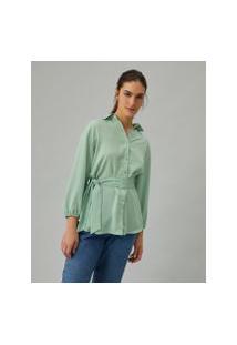 Amaro Feminino Camisa Longa Amarração Cintura, Verde