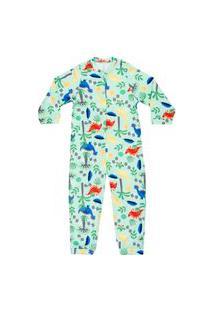 Macacão Pijama Bebê Moletinho Dino Verde Everly
