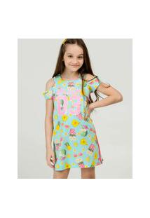 Vestido Infantil Open Shoulder Estampado Tam 4 A 10