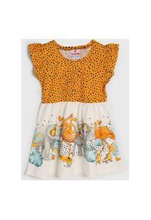 Vestido Brandili Infantil Bichos Amarelo/Off-White