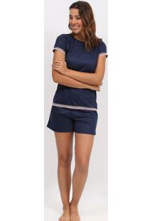 Short Doll Com Renda- Azul Marinho & Rosazulai
