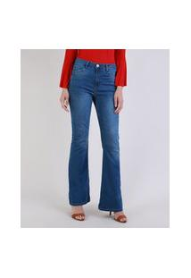 Calça Jeans Feminina Flare Cintura Média Jeans Medio