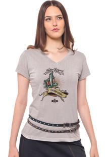 Camiseta Feminina Joss Estampada Tattoo Cinza