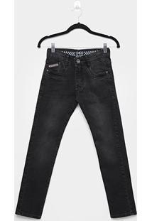 Calça Jeans Infantil Gangster Estonada Masculina - Masculino-Preto